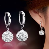 High Quality Luxury Super Flash Full Bling Crystal Shamballa Princess Ball 925 Sterling Silver Women Stud Earrings Party Jewelry