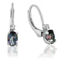 Sterling Silver Mystic Topaz and Diamond Leverback Earrings 1ct tw
