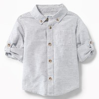 Striped Linen-Blend Roll-Sleeve Shirt for Toddler Boys|old-navy