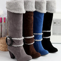 Snow Boots size 34-39 Square High Heels Knee High Winter Shoes for Women Sexy Warm Fur Buckle Fashion Boots = 1931556164
