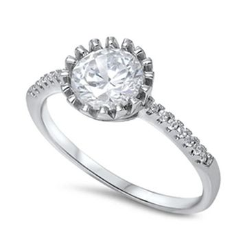 Crown Bezel Set Round 1.5 Carat Cubic Zirconia Engagement Ring Sterling Silver
