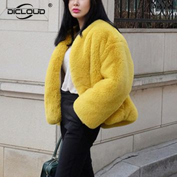 Fluffy Cozy Faux Rabbit Fur Outerwear Women Winter Warm Jacket Coat Fashion Yellow Shaggy Faux Fur Coats Women Faux Fur Overcoat