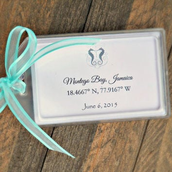 Luggage Tag Favors for Destination & Beach Weddings , Bridal Showers , Engagement Parties , Out of Town Bags , Welcome Bags