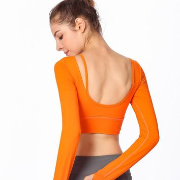 Women Sports Bra Top Fitness Sport Underwear Padded Long Sleeve Sports Bra Active Wear Open Back Yoga Shirt Workout Clothes