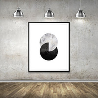 Geometric Scandinavian Print, Wall Art Print, Minimalistic Design, Bedroom Decor, Black and White, Geometric Print, Marble, Home Wall Decor