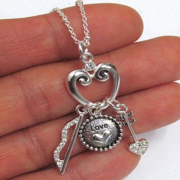 Bow and Arrow Love Silver Necklace