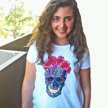 Day of the Death T shirt (OR Cover Pillow) 3D Dia De Los Muertos Tees Skull Mexican Camiseta Pintada painting Made to order Frida Kahlo