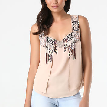 bebe Womens Embellished Layered Top Rugby Tan