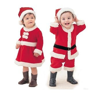 2pcs New Year's Costumes for Boys Girls Christmas Baby Clothes Set Kids Things Santa Claus Winter Clothes Long Sleeve+Hat Suits