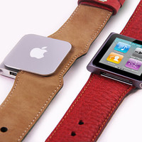 iPod Nano 6G Red Leather Strap (watch-band or wristband)