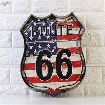 JW_American Route 66 Neon Signs Home Wall Lamps Decor Vintage US Flag LED Light Illuminated Signage Bar Garage Club Dropshipper