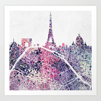 Paris Skyline + Map #1 Art Print by Map Map Maps