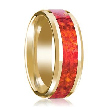 Men's Beveled 14k Yellow Gold Wedding Band with Red Opal Inlay Polished Design - 8MM