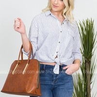 Boyfriend Striped Button-Up Top