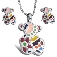 Multi Color Bear Heart and Circle Necklace and Earrings