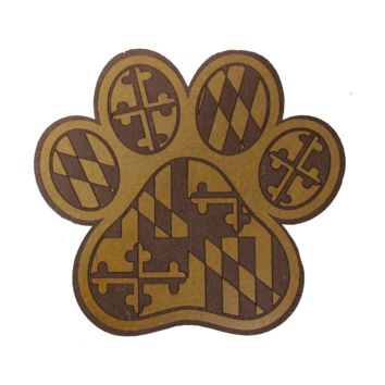 *PRE-ORDER* Maryland Flag Paw Print / Wooden Coaster (Estimated Ship Date: 4/30)
