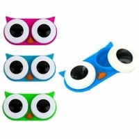 Kikkerland Owl Contact Lens Case, Assorted Colors, Pink/Blue/Green:Amazon:Health & Personal Care