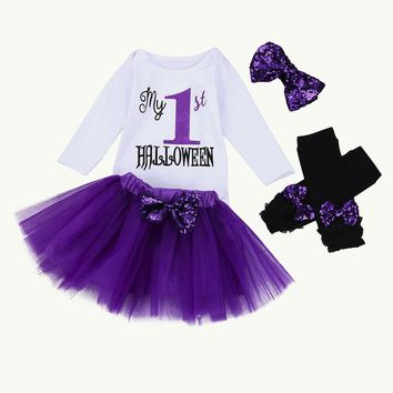 Halloween clothes 4PCS Infant Baby Girl Letter Romper Leg Warmers Headband Tutu Skirt Outfit Set Baby girls clothes drop ship