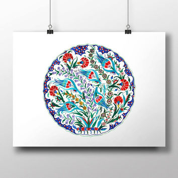 Iznik Blue Tulip Watercolor Print Turkish Digital Print Carnation Wall Art Traditional Wall Decor Wall Hanging