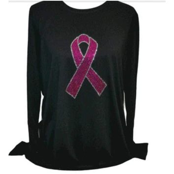 Women's Pink Ribbon Long Sleeve Rhinestones Bling Shirt