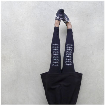 The Bees Knees - womens leggings - geometric honey bee print on jet black jersey spandex leggings - womens fashion - high waisted