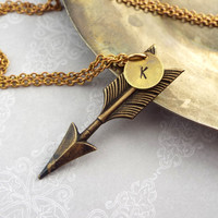 Arrow Necklace with Personalized with Hand Stamped Initial Charm in Antiqued Brass