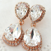 Rose gold and White clear crystal Chandelier earrings,  Bridal earrings, Swarovski rhinestones earrings, Dangle earrings, Drop earrings