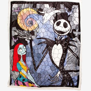 Licensed cool The Nightmare Before Christmas Jack & Sally Stained Glass Sherpa Throw Blanket