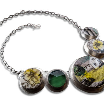 Meadow Necklace with  Handcrafted Dinnerware, Silver and  Green Glass Gemstone