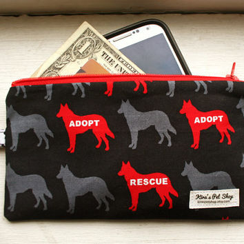 Handmade Dog Zipper Pouch - Zipper Dog Clutch Purse Bag - Dog Accessories Adopt Don't Shop Rescued Is My Favorite Breed Gifts for Dog Lovers