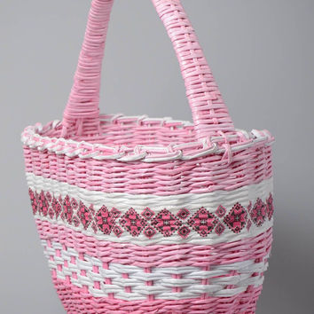 Woven basket handmade of paper rod Home decoration Interior items Design nacelle
