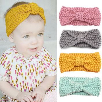 New Knit Headband Crochet Top Knot Elastic Turban Hairband Baby Girl Head Wrap Ears Warmer Headwear Girls Headbands