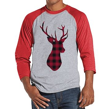 Plaid Deer - Men's Christmas Top - Men's Baseball Tee - Red Raglan Shirt - Gift For Him - Rustic Winter Shirt - Holiday Gift Idea
