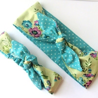 Rockabilly Mommy and Me Matching Green with Large Blue and Plum Flowers Head Scarfs Pinup Women Baby Headband Hair Accessory