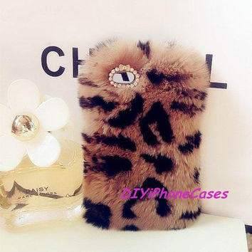 iPhone 5s furry case iPhone 5c fur case iPhone 5 Case cute Leopard Print Fur Galaxy s4 Case real fur iPhone Case Galaxy s3 Case HTC one Case