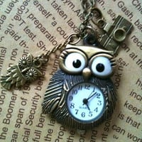 Owl Steampunk Pocket Watch necklace by Victorianstudio on Etsy