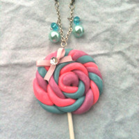 Polymer clay sweet lolita pink Kawaii lollipop sucker anime cosplay necklace