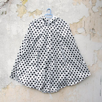 Polka Dot Raincoat, Black and White, Vintage Inspired Cape with Hood, Waterproof, Unisex Rain Cape