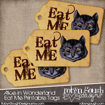 Alice In Wonderland Eat Me - Cheshire Cat Tags Printable Sheet