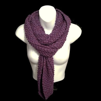 Purple Infinity Scarf, Chunky Knitted Scarf, Knit Snood Super Chunky, Circle Cowl Scarf for Winter, Christmas Gift for Her