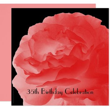 35th Birthday Party Invitation Coral Pink Rose