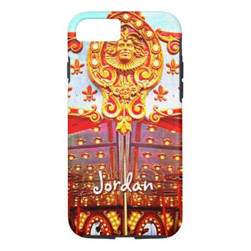 Gold face carousel photo custom name iPhone case