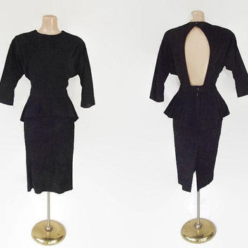 Vintage 80s Suede Peplum Dress | 1980s Suede Pencil Dress | Open Back Dress | Black Suede Leather Dress | Avant Garde Dress | Bermans | Sz 8