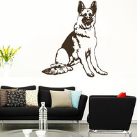 German Shepherd Dog Seated Vinyl Decals Wall Sticker Art Design Living Room Modern Bedroom Nice Picture Home Decor Hall  Interior ki804