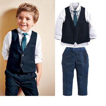 Children's clothing sets kids baby boy suit vest gentleman clothes for weddings formal clothing