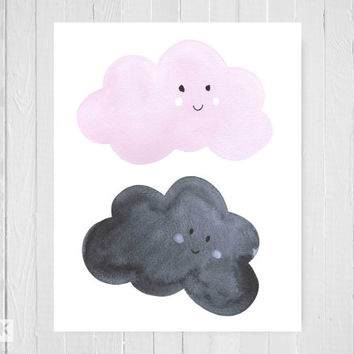 Rain Clouds Art Print, Pink and Grey, Modern Nursery Art, Watercolour Illustration Print, Cute Room Decor Kids, baby shower gift, New Mum