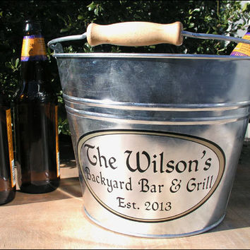 Custom Galvanized Beer or Ice Bucket, Perfect for Outdoor Patio Grill  (6qt)