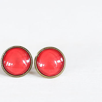 Cherry Red Glass Earrings