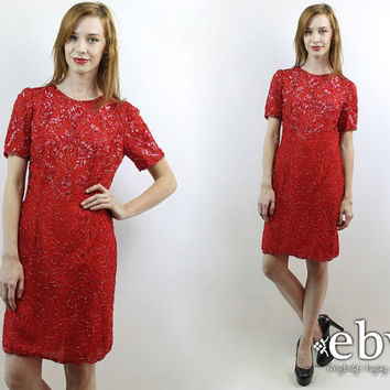 Vintage 80s Red Sequin Dress S M Red Cocktail Dress Red Dress Glam Dress Disco Dress Bodycon Dress Prom Dress Bandage Dress Red Party Dress