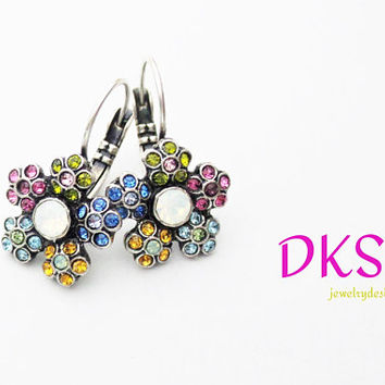 Summer Bouquet, Swarovski Flower Earrings, Lever Backs, Multi Color, Pave, Ant Silver, Summer Jewelry, DKSJewelrydesigns, FREE SHIPPING